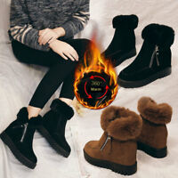 Women Fashion Winter Thermal Ankle Boots Suede Casual Snow Boots Zip Plat Shoes