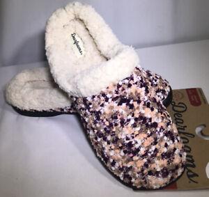 Women's Size L (9/10) Dearfoam Slipper Aubergine Popcorn Clog Mule Peach Purple
