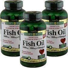 3 x Nature's Bounty Maximum Strength Fish Oil 1400mg Omega-3 130 SGels Odor-Less