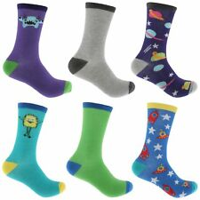 Atano 6 Pairs of Mens Aliens & Space Rockets Socks 7-11