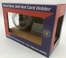 Baseball and Trading Card Display Wood Base Stand Memorabilia Holder