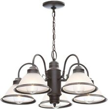 5 Light Chandelier Oil Rubbed Bronze Hanging Lamp Glass Shade Dining Room Decor