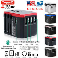 4 USB Type C Universal Travel Wall Charger World Wide Adapter Converter US Plug