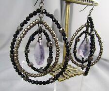 Black Smokey Purple Plastic Beaded Dangle Chunky Pierced Post Earrings #14R
