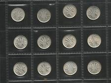 1953 TO 1964 THREEPENCE *COMPLETE SET* - QUEEN ELIZABETH II - 12 COINS - EF/UNC