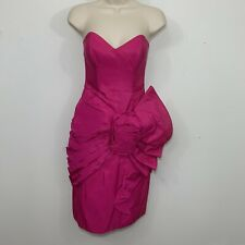 Vintage TADASHI Hot Pink Taffeta Pleated Bustier Tiered Semi Formal Dress Xs