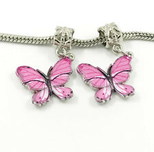 2pcs Silver Butterfly European Charm Spacer Beads Fit Necklace Bracelet DIY ! !