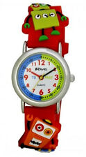 Ravel Childrens Red Robot Watch With 3D Embossed Red Strap Time Teacher R1513.61