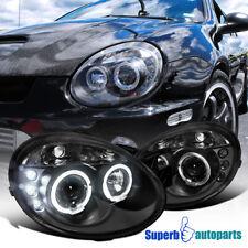 For 2003-2005 Dodge Neon LED Halo Projector Headlights Head Lamp Black