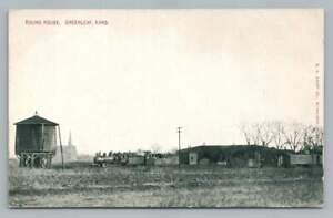 Railroad Roundhouse GREENLEAF Kansas Antique Train Locomotive Postcard 1910s