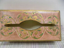Florentine Tissue Box Pink & Gold Toleware Hand Decorated Gesso Hinged Italy