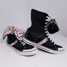 49ec8c64b756b0 Vans Wellesley Womens Hi Top Shoes Checkerboard Retro Roll Down Checker US  11
