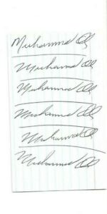Muhammad Ali Heavyweight Champ Boxing Autographed 3x5 Card (6X) PSA Letter
