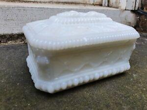 ANTIQUE 19TH C VICTORIAN OPAQUE WHITE PRESSED GLASS CUFFLINK TRINKET BOX COVER &