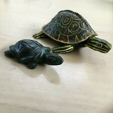 Two(2) Turtles, 1 Carved Celedon Like, 1 Commercial Grade From China
