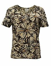 HOT COTTON WOMEN CLOTHING SHORT SLEEVE TEE SHIRT TOP BLOUSE BROWN FLOWER SMALL