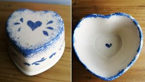 Small Heart Shaped Trinket Dish Bowl Cream Col with Blue Painted Design