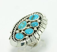 Running Bear Sterling Silver Natural Blue Turquoise Statement Ring Size 5.75
