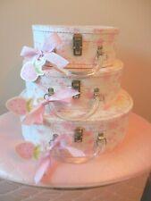 3 Lady Jayne Pink Toile Nesting Suitcase Organizer Storage Boxes Lucite Handles