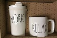 "Rae Dunn ""WORK"" Travel Tumbler And ""RELAX"" COFFE Mug Box Set Of 2 Large Letters"