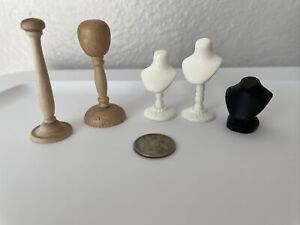 Dollhouse Miniature 1:12 Scale Lot Jewelry display Bust and hat stands accessory
