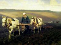 Ilya Repin Leo Tolstoy Ploughing Fine Art Giclee Print on CANVAS Deco Small 8x10