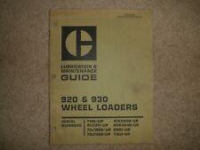 Caterpillar 920 930 Wheel Loaders Lubrication Amp Maintenance Guide Cat Sebu5394