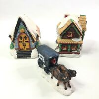 Wee Crafts Hand Painted Christmas Village Buildings and Ice Carriage