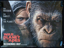 WAR FOR THE PLANET OF THE APES 2017 - ORIGINAL UK QUAD PREVIEW FILM POSTER