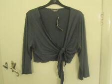 M&S Per Una Grey - Blue Thin 3/4 Sleeve Bolero / Shrug in Size 20 R - NWT