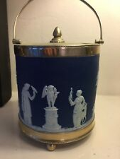 Antique Wedgwood Jasper Ware Blue biscuit barrel Neoclassical scenes c1910