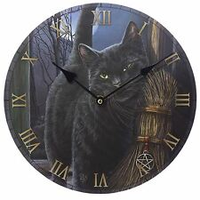 Brush With Magic Black Cat Picture Wall Clock 30cm High Lisa Parker