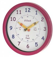 Childrens Clock In Pink Learn To Tell The Time, 25 cm By Unity Education Clock