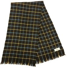 "Australian Brown Yellow Plaid 100% Pure Wool Fringe Scarf 46"" x 11.5"""