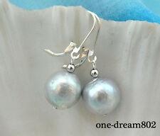 12mm Gray round Edison keshi reborn pearl dangle earring 925SS