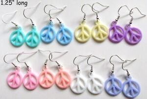 Peace Sign 80s Style Acrylic Silver Plated Retro Earrings. BUY 2 Get ONE FREE