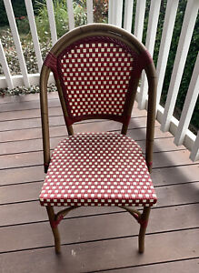 Parisian Red & White Woven Outdoor Chairs X 8
