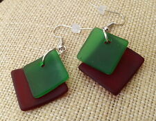 BWT- 1pr Sea Beach Glass Style Double Drop Earrings- Red and Green Ln531  Spirit