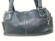 Fossil Black Pebble Leather Medium Shoulder Baguette Bag Purse Top zip
