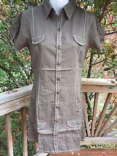 New_Olive Cotton Shirt Dress_Sizes M, L_Cute!