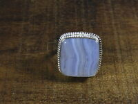 Natural Blue Lace Agate 925 Solid Sterling Silver Ring Size US 8.5 r508