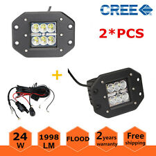 2X 24W CREE Flood Flush Mount LED Work Light Off-road Ford Jeep + Wiring Harness