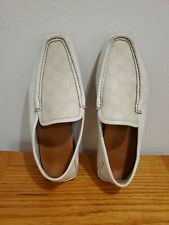 GUCCI Mens White GG Guccissima Leather Moccasins, Loafers, Shoes Size 7