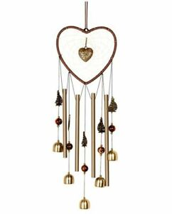 Wind Chimes Outdoor, Heart Dream Catcher with Sailboat and Bell
