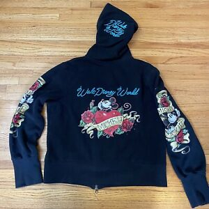 RARE Walt Disney World Mickey Mouse w/Large TATTOO ARMS ROSES Hoodie XLarge XL
