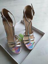 Carvela. Kurt Geiger Silver T bar Stiletto Ankle Strap Shoes. Size 7 (40)