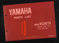 Yamaha RS200 (1979 >>) Genuine Parts List Catalogue Book Manual 3L2 RS 200 BW89