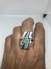 1980's Vintage Silver Southwestern Real Turquoise Inlay Lightning Bolt 8 Ring