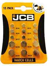15 JCB Watch Batteries Pack contains 3 of each AG1 AG3 AG4 AG12 AG13