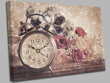 Flower time Clock Canvas Wall Art Picture Print